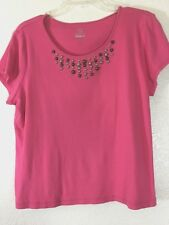 RUBY RD.WOMENS KNIT TOP SIZE XL ROSE PINK GOLD STUDS SHORT SLEEVES COTTON