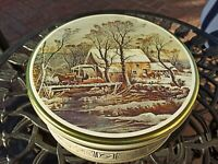 "Vintage 10"" x 3.5"" Round Cookie Biscuit Tin Gold Holiday Motif Design Storage"