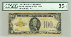 $100 Series 1928 Fr. 2405 (yellow seal) Gold Certificate PMG Very Fine 25