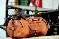 Men's Vintage Brown Leather Gym Weekend Luggage Travel Duffel Handmade Retro Bag