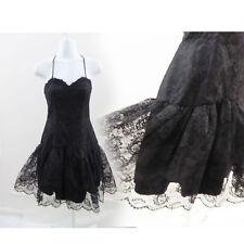 Vintage 80s Halter Dress Size S Little Black Lace Cocktail LBD Lolita Vtg 70s