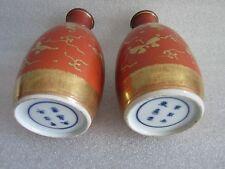Beautiful Antique Japanese Eggshell Porcelain Kinrande Gold Tokkun Sake Vessels