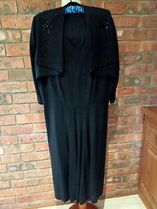 Original Vintage 1940s Black Crepe Beaded Dress XXL 16+ A Rare Find Ex Condition