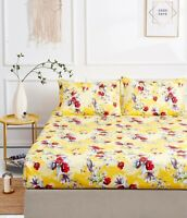 DaDa Bedding Bright Sunshine Yellow Hummingbirds Floral Fitted Bed Sheet Set