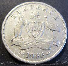 1946 Australia 6d Sixpence ** ERROR DIE CRACKS ** #X646