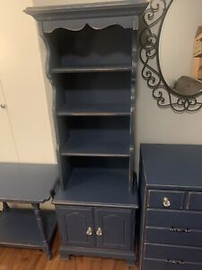 Farmhouse Distressed Chalk Painted Wood Furniture Blue Drawers Book Case Night
