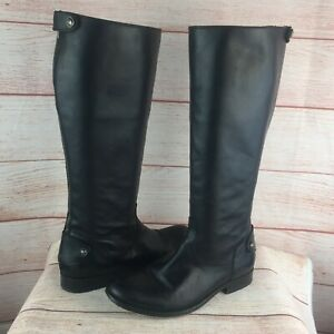 Frye Melissa Back Zip Knee High Black Leather Boots Sz 8.5 B 3471366 Riding