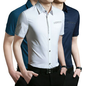 NWT Korean Style Men's Fashion Short Sleeve Casual Soild Dress Shirt Slim Fit