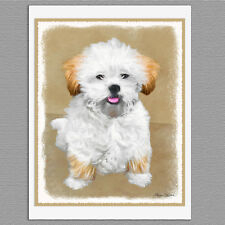 6 Lhasa Apso Puppy Dog Blank Art Note Greeting Cards