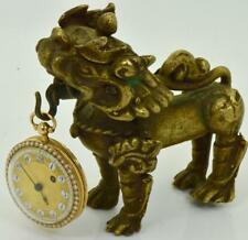 UNIQUE Chinese Qing Dynasty 22k Gold,Enamel&Pearl Verge Fusee watch&Fu Dog stand