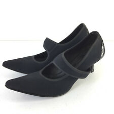 Donald J Pliner 7.5 N Black Textile Stretch mary jane Kitten Heels Pointed Toe