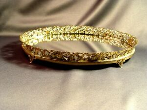 Vintage Gold Filigree Footed Dresser Oval Mirrored Vanity Tray