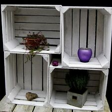 4 x Old White Fruit Box Apple Boxes Wooden Crates Wine Country Cottage Shabby