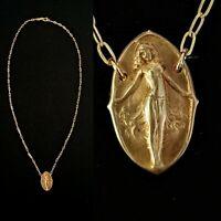 Vintage 1920s Art Nouveau Erotic Goddess Necklace Beautiful Details