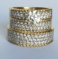 3 c his her Round Trio 3 Piece 14K yellow Gold Engagement Wedding Band Ring Set