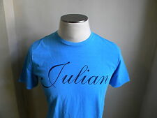 DSQUARED² RUNWAY HAND DYED VINTAGE LOOK BLUE JULIAN PRINT T SHIRT S L