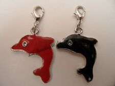 LOT 2 CHARMS BRELOQUE A FERMOIR METAL ARGENTE DAUPHINS ROUGE / NOIR - BIJOUX AD5