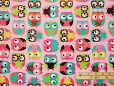 Pink Owls Softie Hoot Hoo Minky Minkee Fabric  by the FAT 1/2 Yard  P9925-PNK