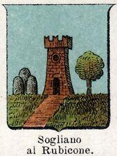 Stemma Comune: SOGLIANO AL RUBICONE. Cromolitografia. Forlì-Cesena. Romagna.1901