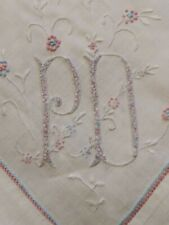 """Exceptional Colorful Embroidered Fine Hemstitched Linen Tablecloth 35"""" by 34.5"""""""