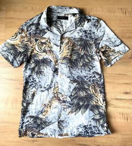 All Saints Button Up Short Sleeve Shirt Tiger Jungle Graphic Size S Small