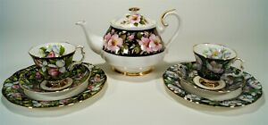 Vintage 1980's Royal Albert Provincial Flowers Teapot and 2 Cup/Saucer Trio Sets