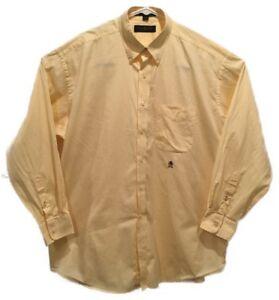 Tommy Hilfiger Mens Yellow L/S Button Up Dress Shirt Lion Crest 16-1/2 35