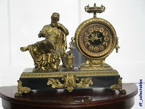 Ansonia Philosopher figural statue mantel clock, working with open escapement