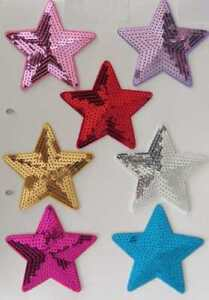 3 Pieces of 9cm Embroidered sequin stars IRON-ON patch applique badge from UK