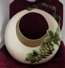 Hull Pottery Tokay Round Moon Basket Planter Green Grapes with Grapevine Handle
