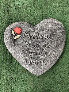 Nephew Always In Our Hearts, Memorial Stone Heart Garden Ornament Gravemarker