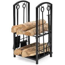 Firewood Storage Rack Log Holder Fireplace Wood Set Shovel Broom Hook Tong