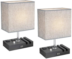 Modern Bedside Lamp with 2 USB Charging Port, Table Lamp with 2 AC Outlets and 2