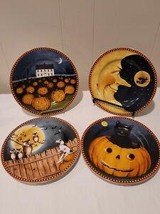 Halloween Plates (4) Sakura Pumpkin Hollow David Carter Brown Collection NIB