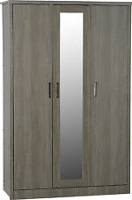 LISBON BLACK WOOD GRAIN 3 DOOR WARDROBE *FREE NEXT DAY DELIVERY
