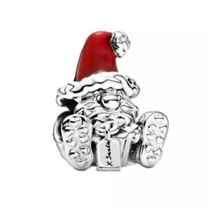 SEATED SANTA CLAUS CHRISTMAS CHARM S925 GENUINE STERLING SILVER