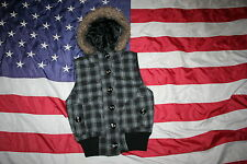 MAURICES Gray Plaid Hoodie Winter Vest Jacket Sz Small: coat/casual/dressy #2720