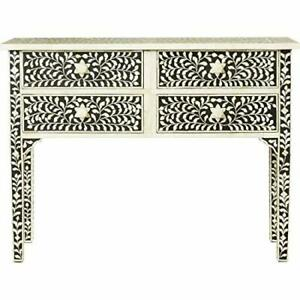 NEW HANDMADE BONE INLAY CONSOLE HALL TABLE - WHITE BLACK FLORAL FURNITURE
