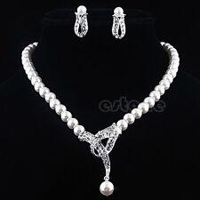 Wedding Bridal Rhinestone Crystal Imitation Pearl Necklace Earring Jewelry Set