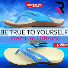 Foot Bio-Tec Spring Series Womens Orthotic Shoes Thongs Arch Support Cyan Colour