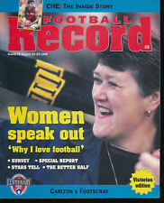 1996 AFL Football Record Carlton Blues v Footscray Bulldogs Aug 23 - 25