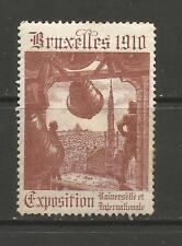 BELGIQUE/BRUXELLES 1910 exposition Affiche TIMBRE/Label #3