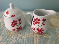 New Roscher Red Floral  Sugar Bowl Creamer Fine China