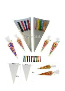 Clear Cellophane Cone Bags Treat Sweet Party Favour Gift cello & POLKA DOT TIES