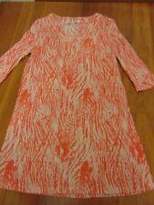 Annabella Tunic Top/Dress, 3/4 sleeve, orange/cream, size Small