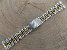 20mm Mens Watch Band Two Tone Vintage Hadley Roma Deployment Clasp New Old Stock