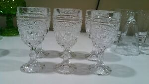 6 Nachtman Kristall footed wine glasses, clear crystal goblets 5 3/4 tall