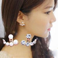 Damen Ohrstecker Ohrring Strass Ohrringe Perlen Ohrschmuck Ohrklemme Silber/Gold