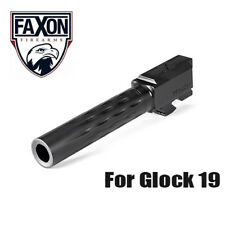 Faxon Flame Fluted Match Stainless Steel Barrel for Glock 19 G19 - Black Nitride
