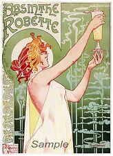 VINTAGE 1896 ABSINTHE ROBETTE LIQUEUR ADVERTISING A4 POSTER PRINT